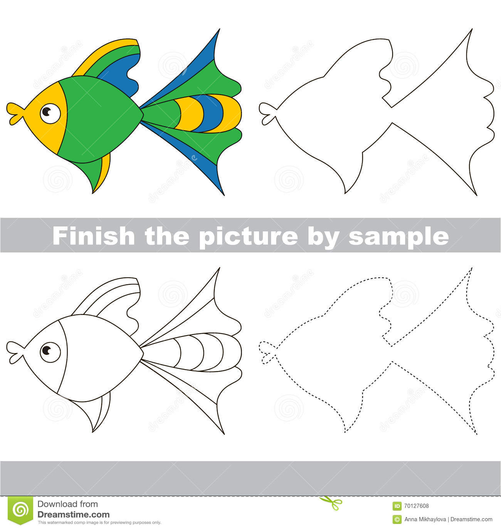 Fish Drawing Worksheet Stock Vector Illustration Of