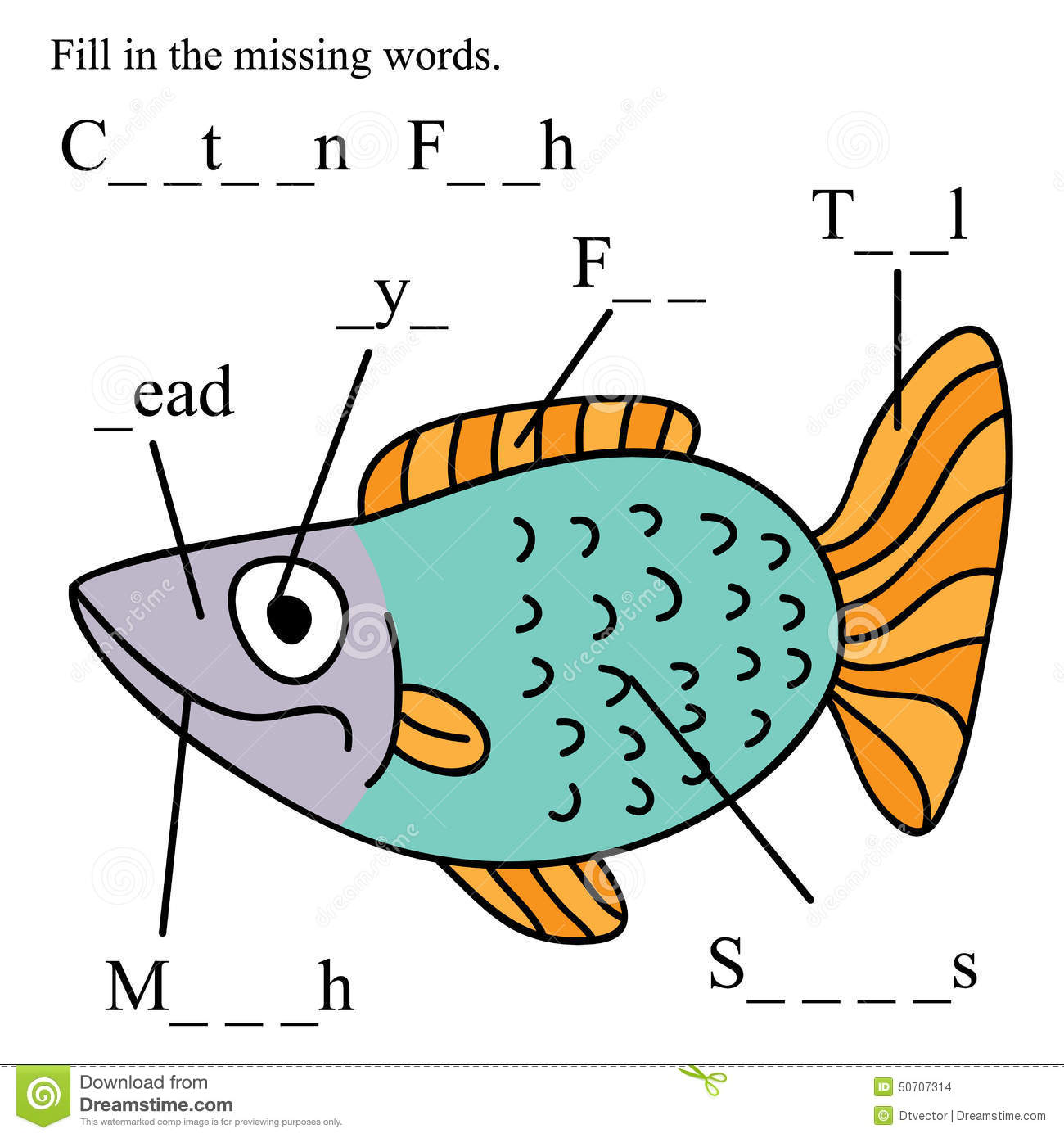 Fish English Fill Missing Words Stock Vector