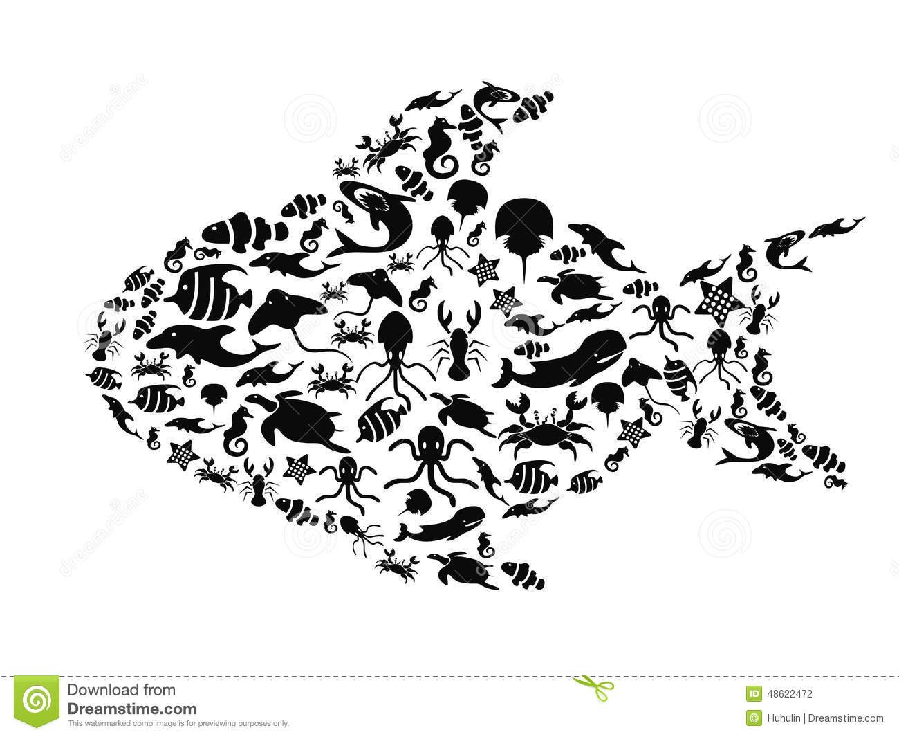 Fish Filled With Small Sea Life Stock Vector