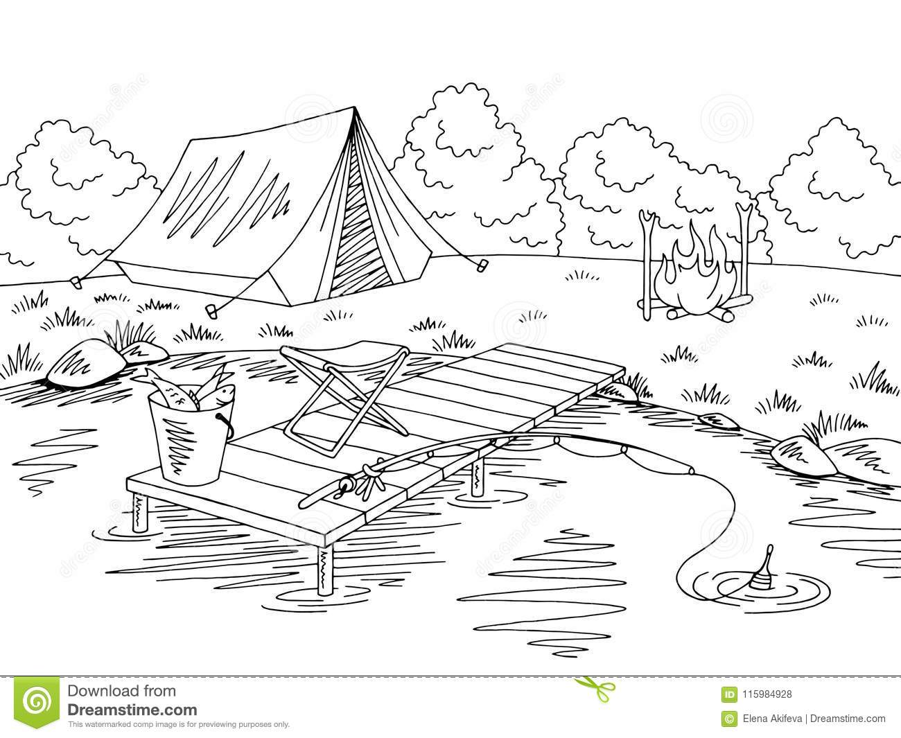 Fishing Camping Graphic Black White Landscape Sketch