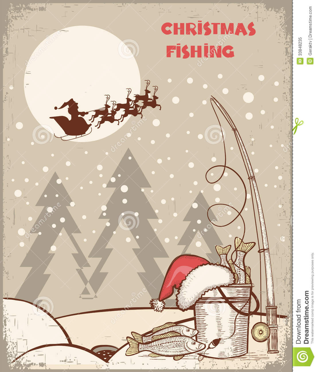 Fishing In Christmas NightVintage Winter Image Wi Royalty