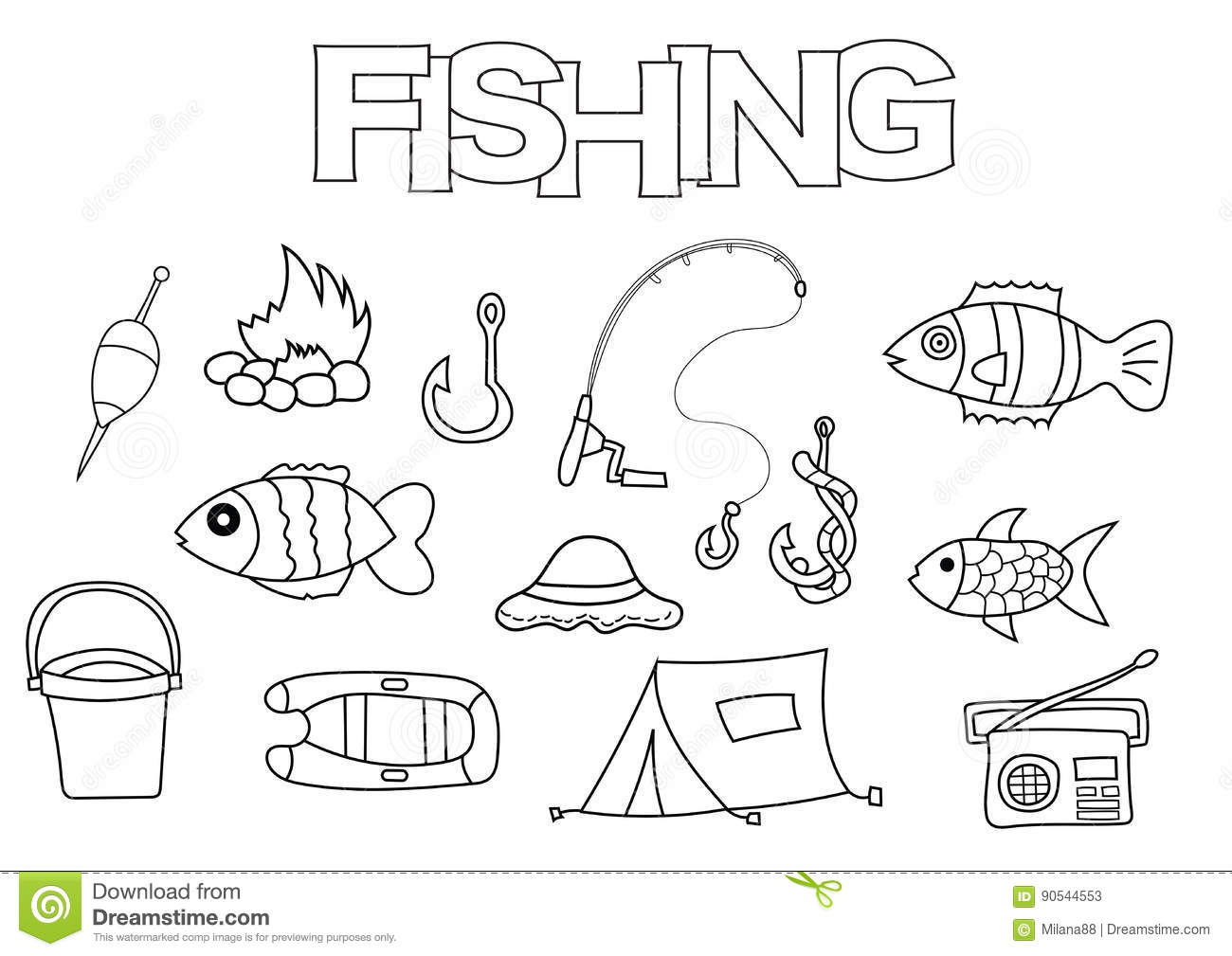 Fishing Elements Hand Drawn Set Coloring Book Template