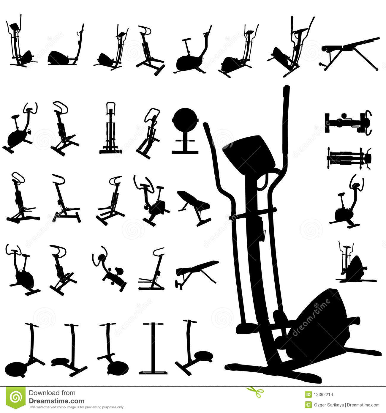 Fitness Equipment Silhouettes Stock Images