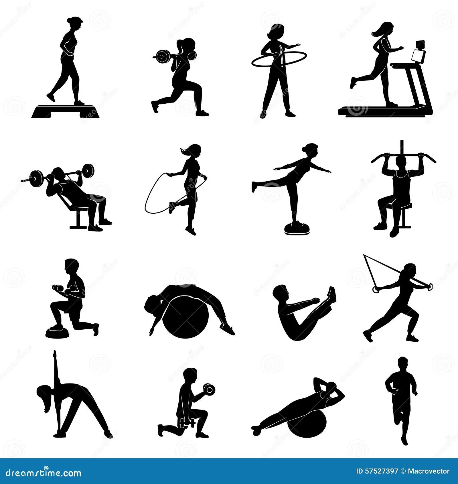 Fitness Men Women Blackicons Set Stock Vector