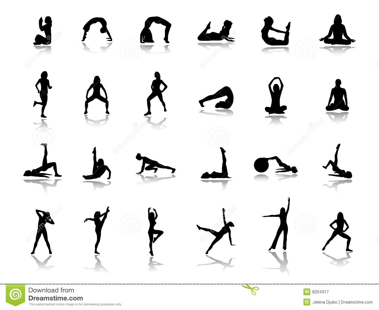 Fitness Silhouettes Stock Vector Illustration Of Athletes