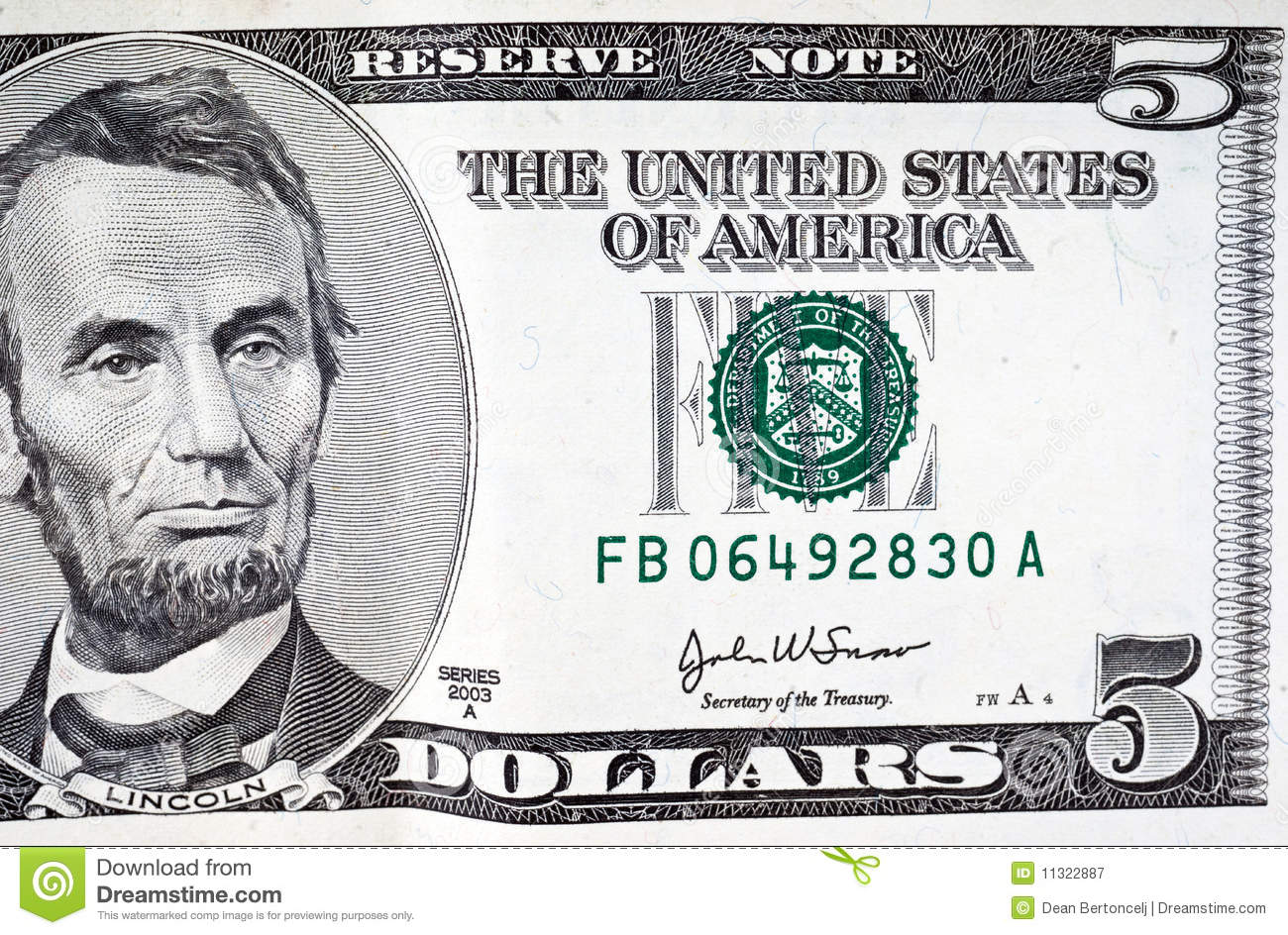 Five Dollar Bill Stock Image Image Of Dollars Five