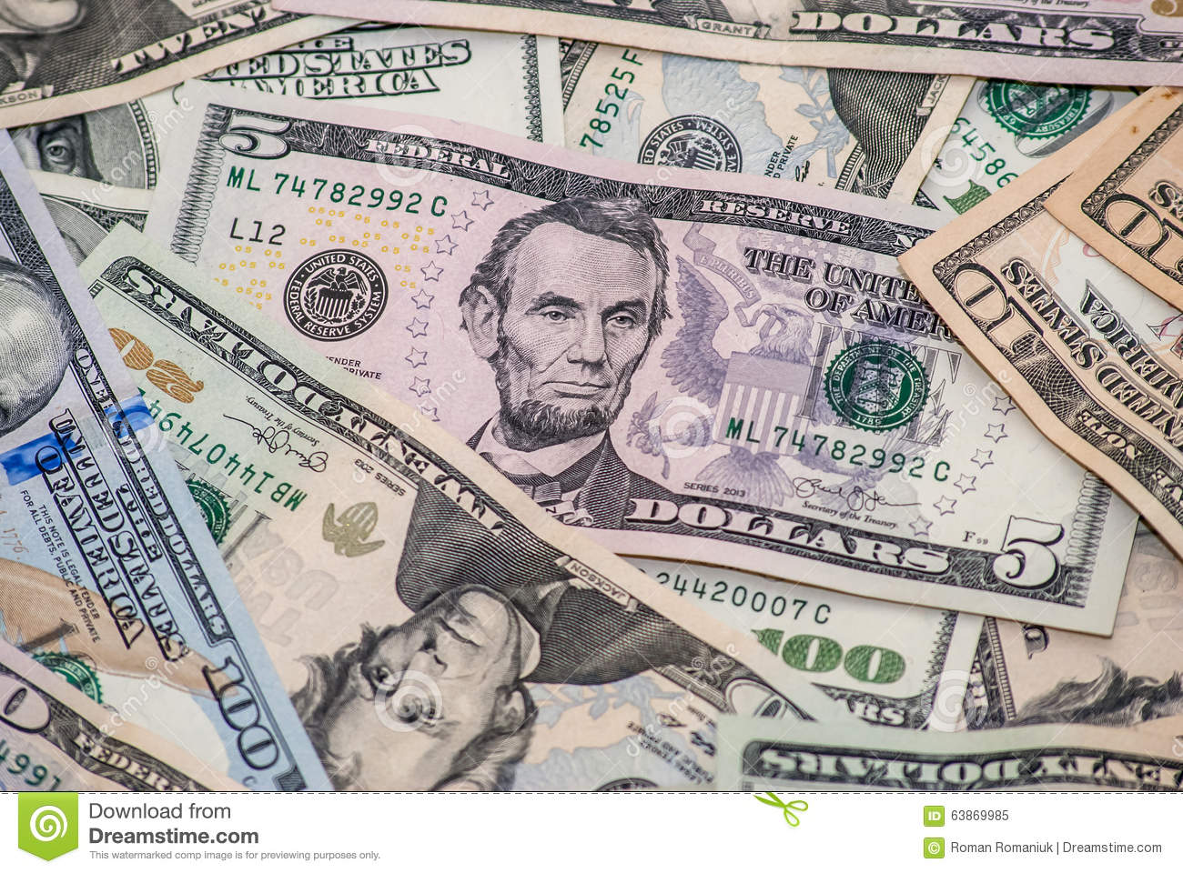 Five Dollar Bill Stock Image Image Of Lincoln Nobody