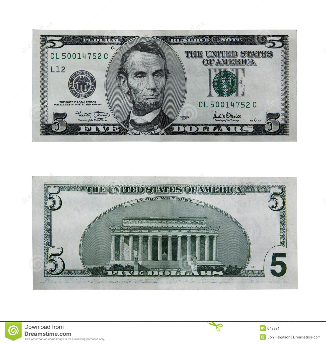 Five Dollar Bill With Path Stock Image Image Of Rich