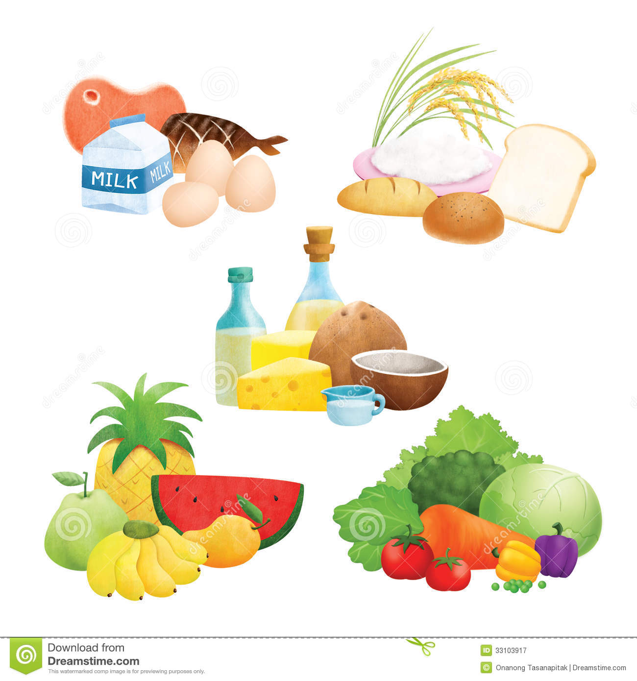 Five Food Group Illustrations Royalty Free Stock