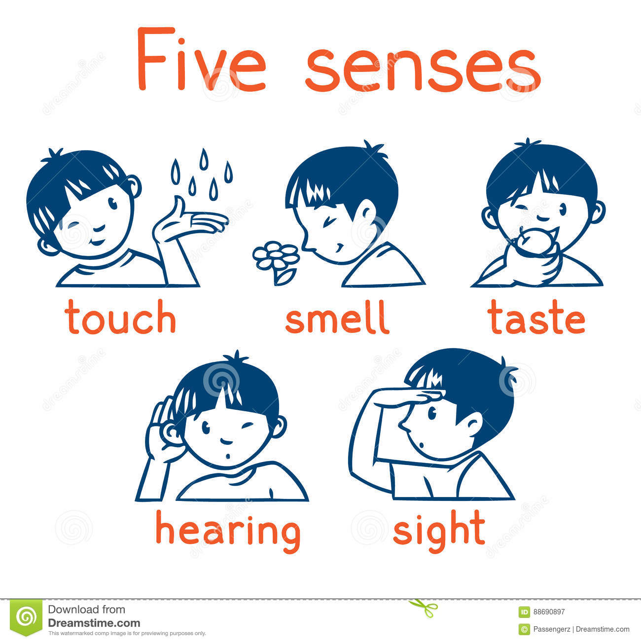 Five Senses Monochrome Icon Set Stock Illustration