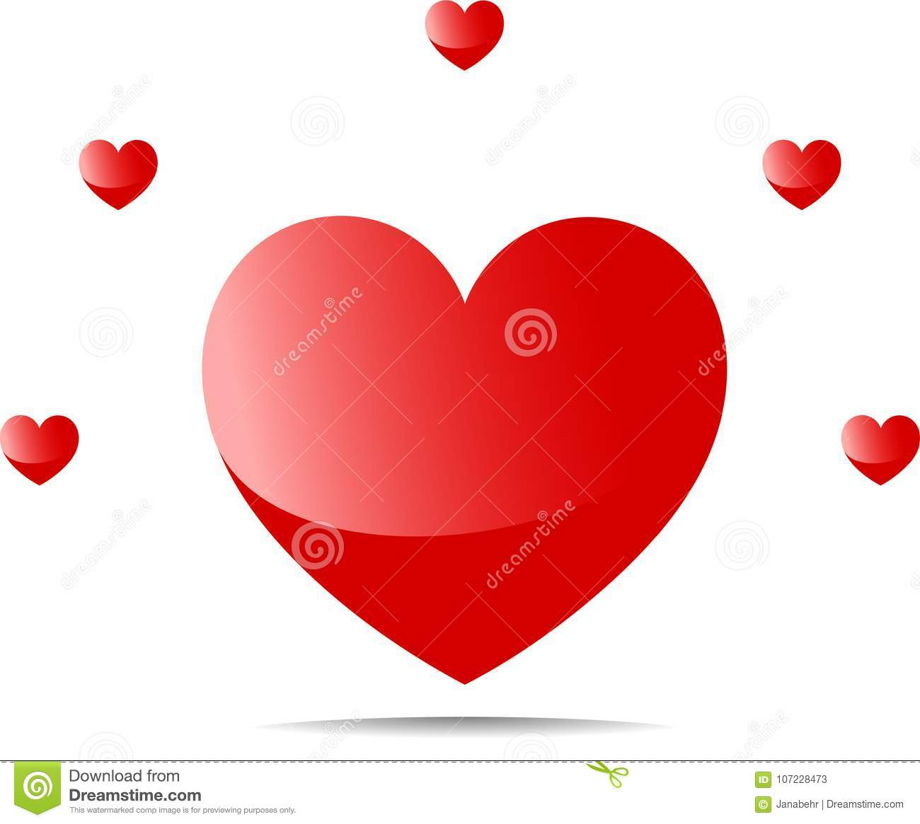 Five Small Hearts Around A Big Heart Stock Illustration