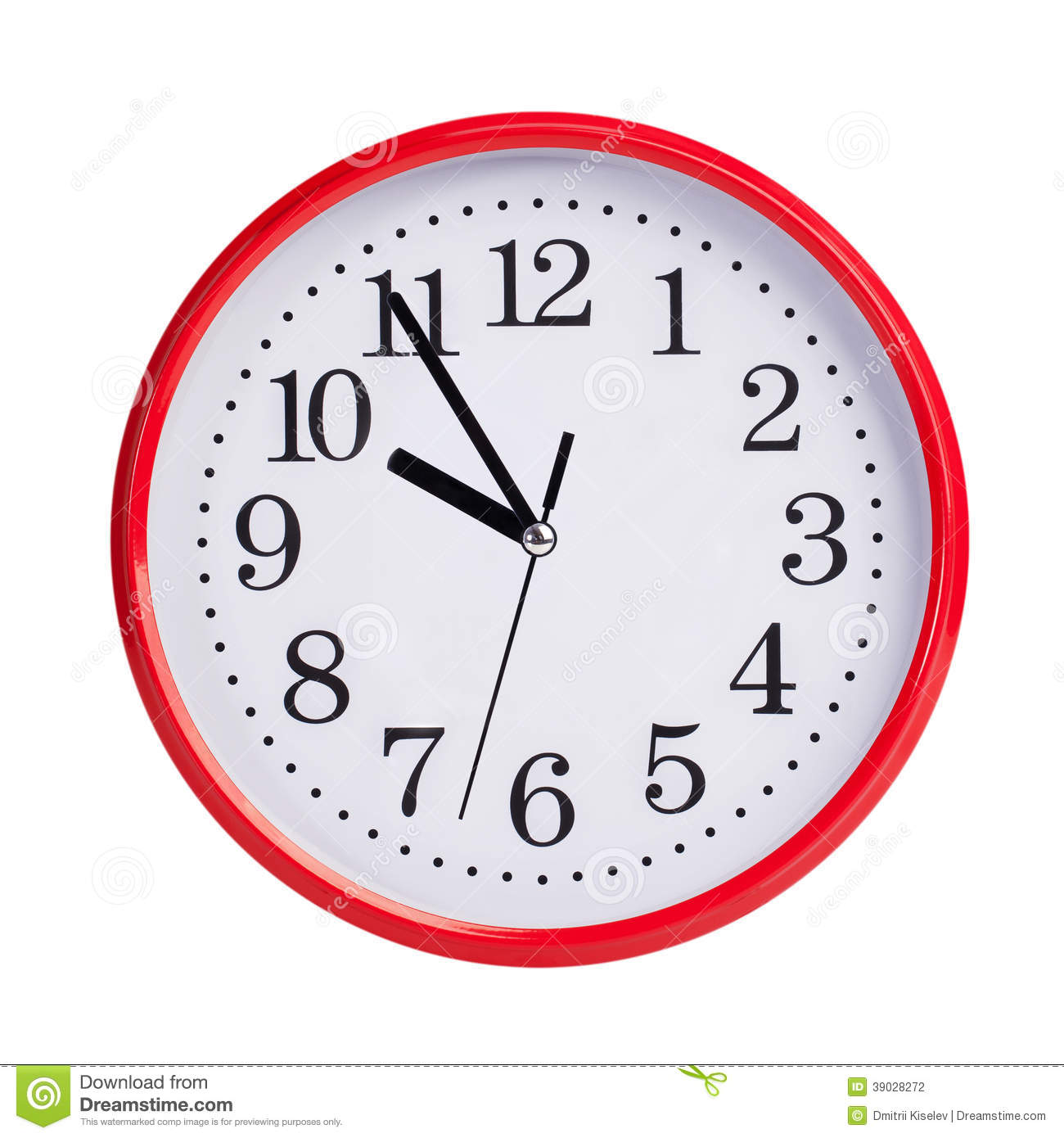 Five To Ten On A Round Clock Face Stock Photo