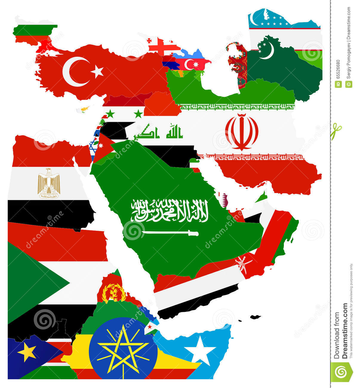 Flag Map Of The Middle East Stock Vector