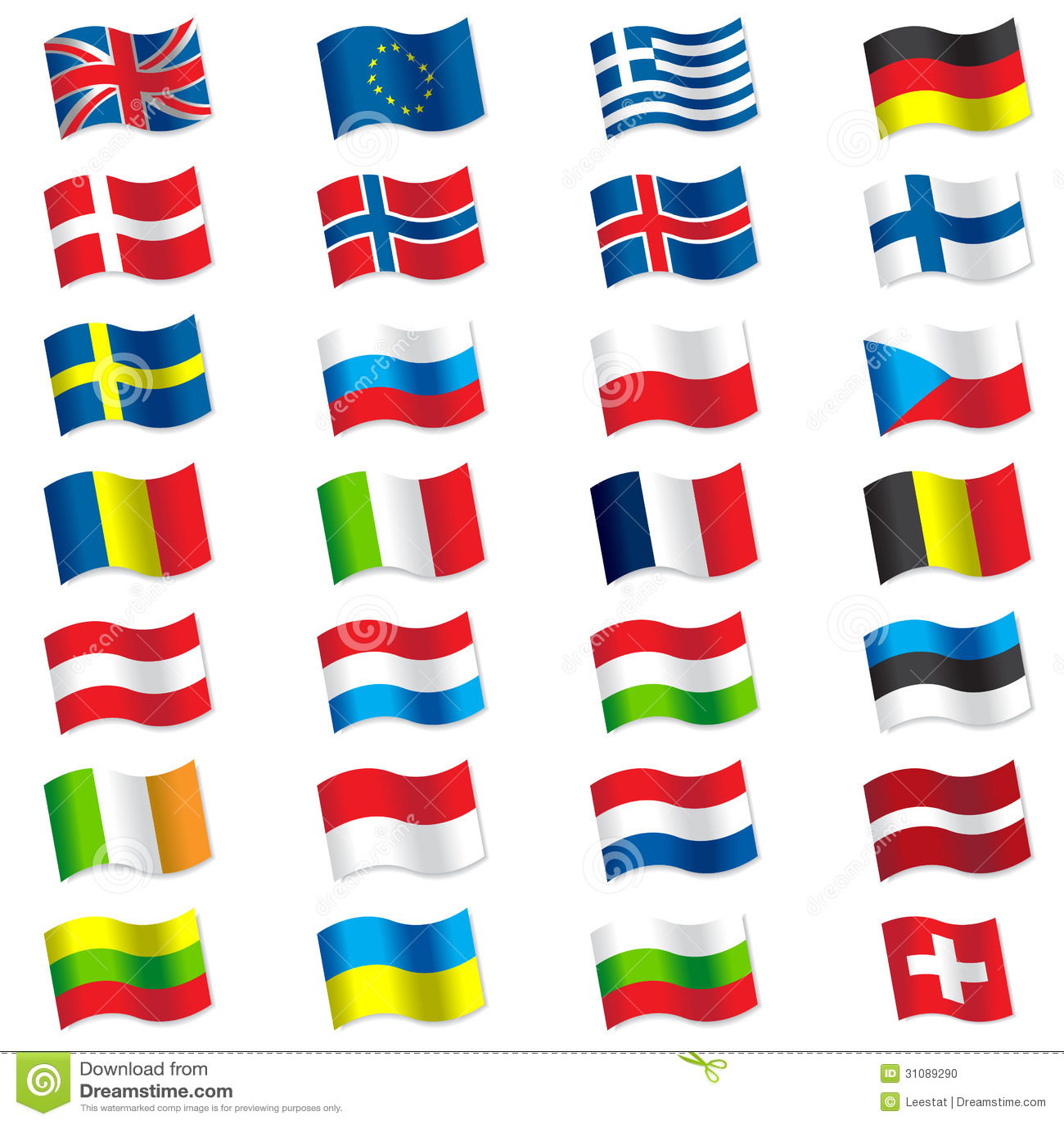 Flags Of Europe Stock Vector Illustration Of Estonia
