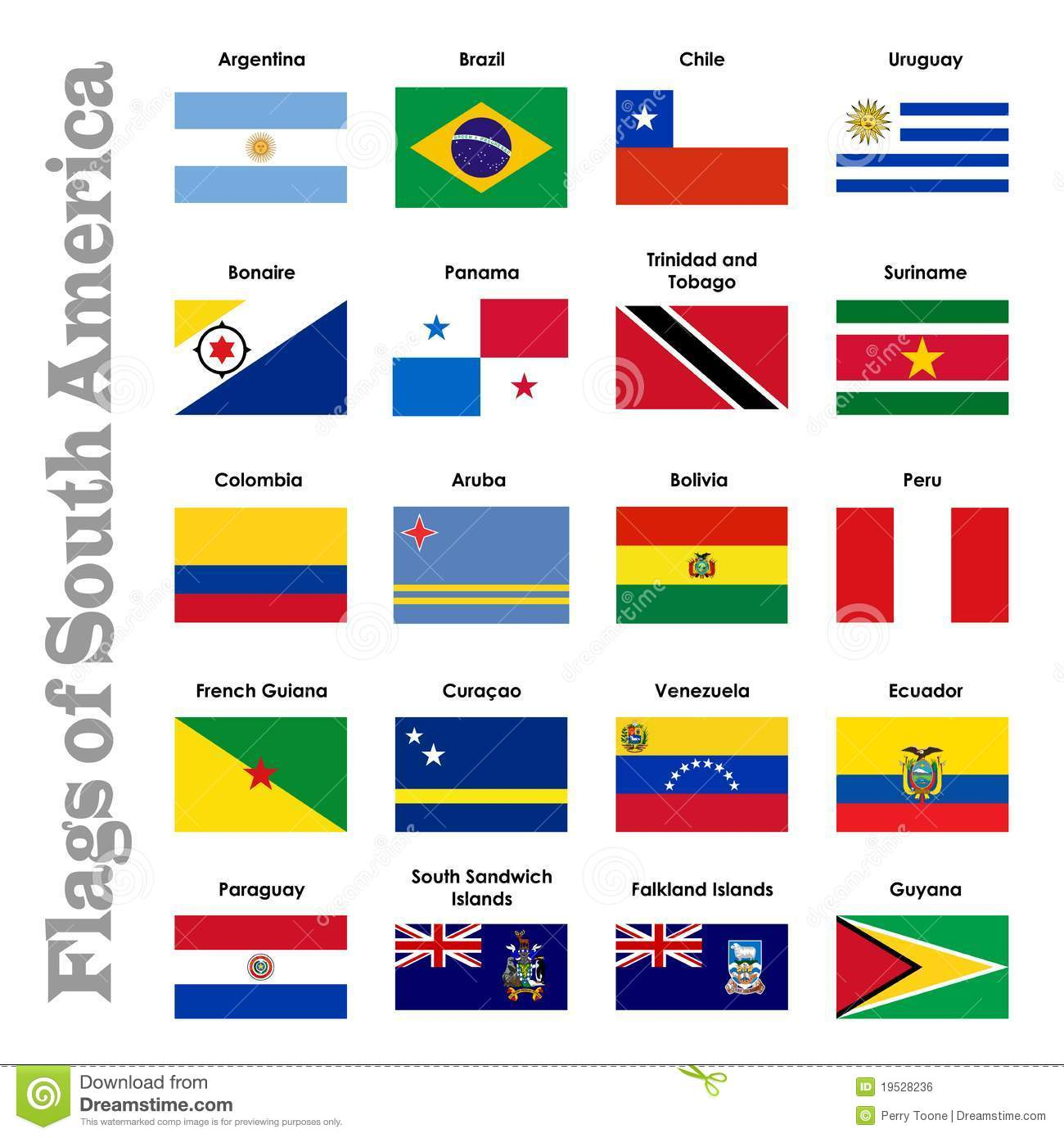 Flags Of South America Stock Illustration Illustration Of