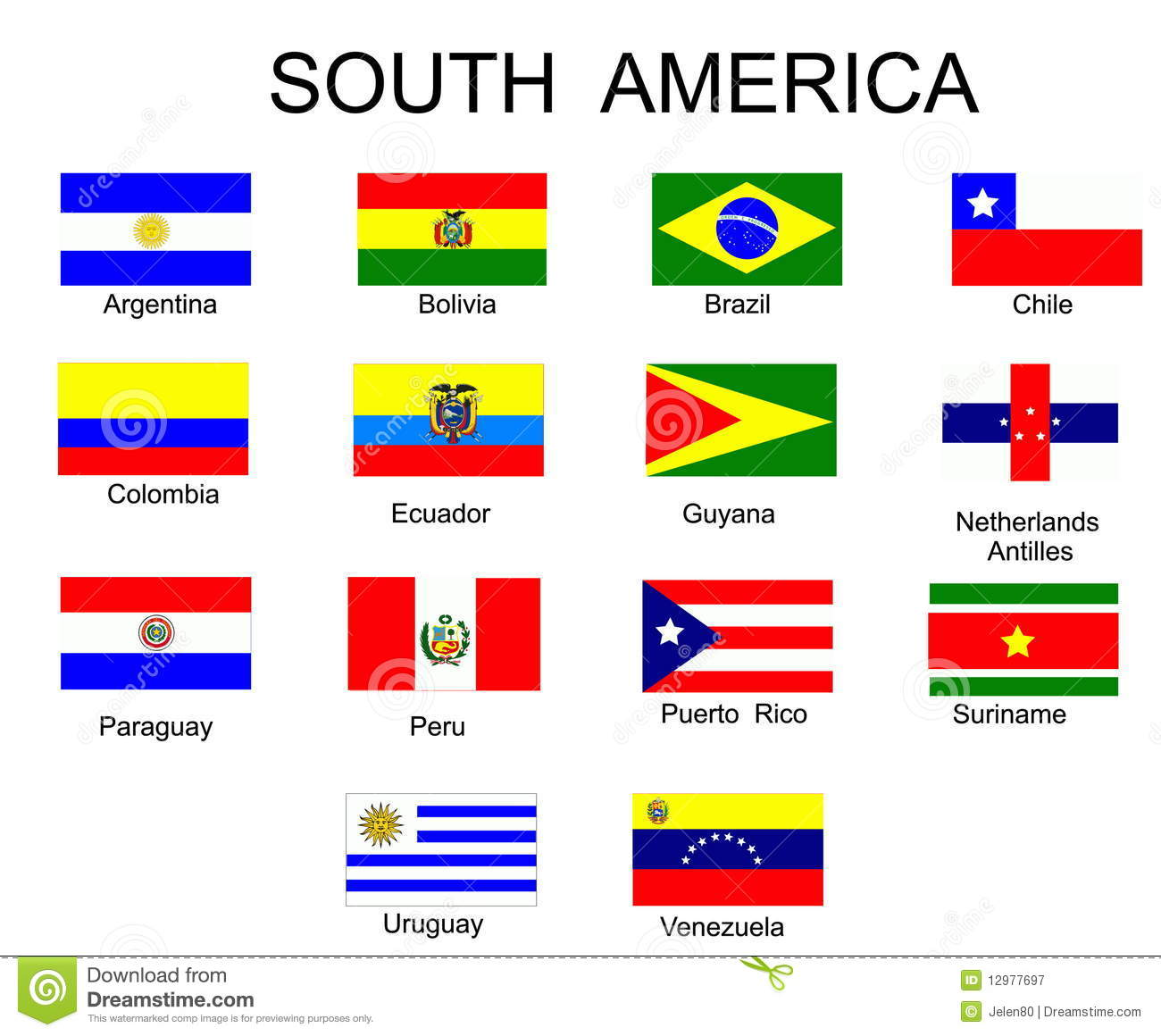 Flags Of South America Countries Stock Vector