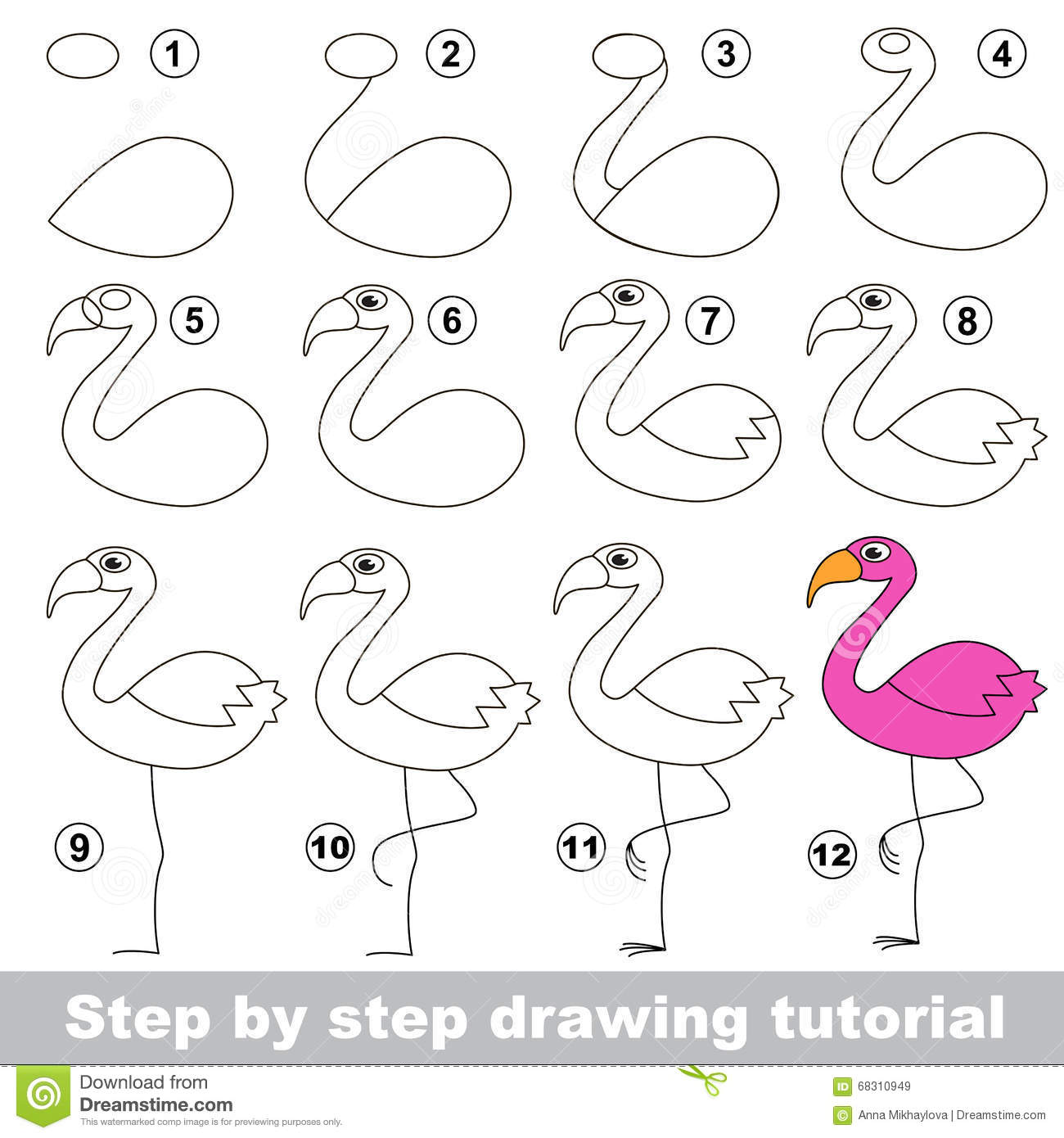 Flamingo Drawing Tutorial Stock Vector