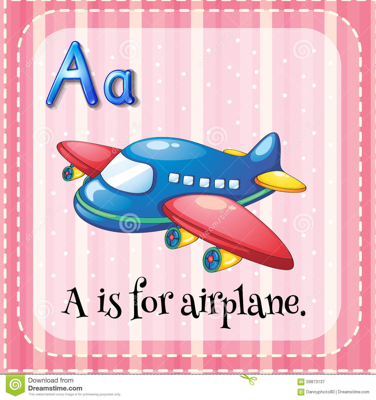 Flashcard Alphabet A Is For Airplane Stock Vector