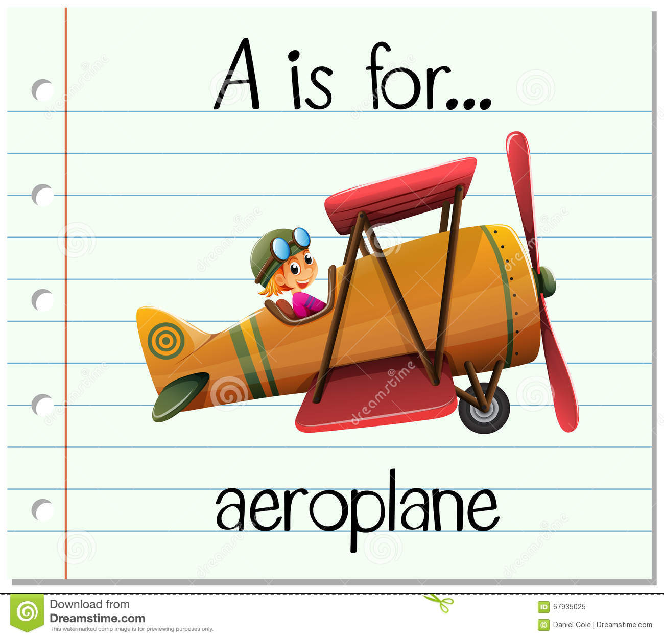 Flashcard Letter A Is For Aeroplane Stock Vector