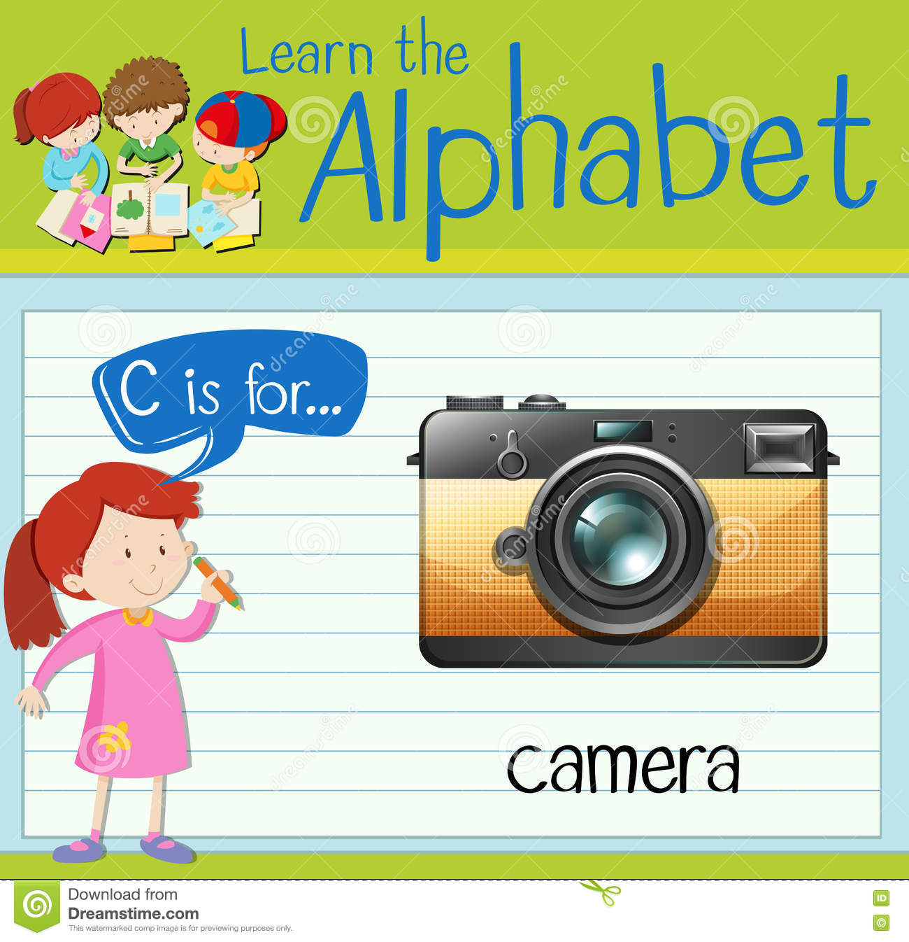 Flashcard Letter C Is For Camera Royalty Free Cartoon