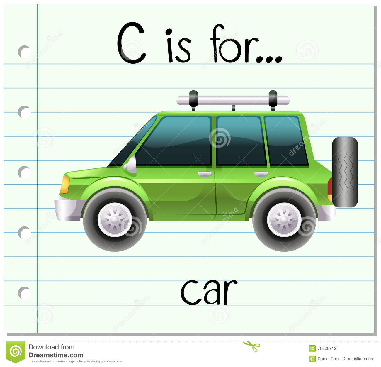 Flashcard Letter C Is For Car Stock Vector