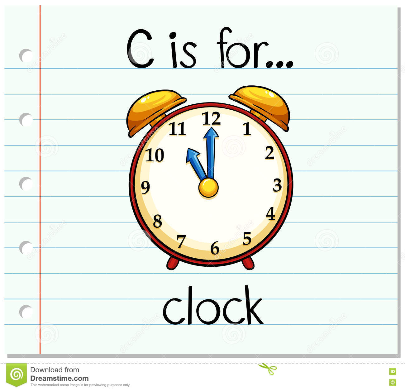 Flashcard Letter C Is For Clock Stock Vector