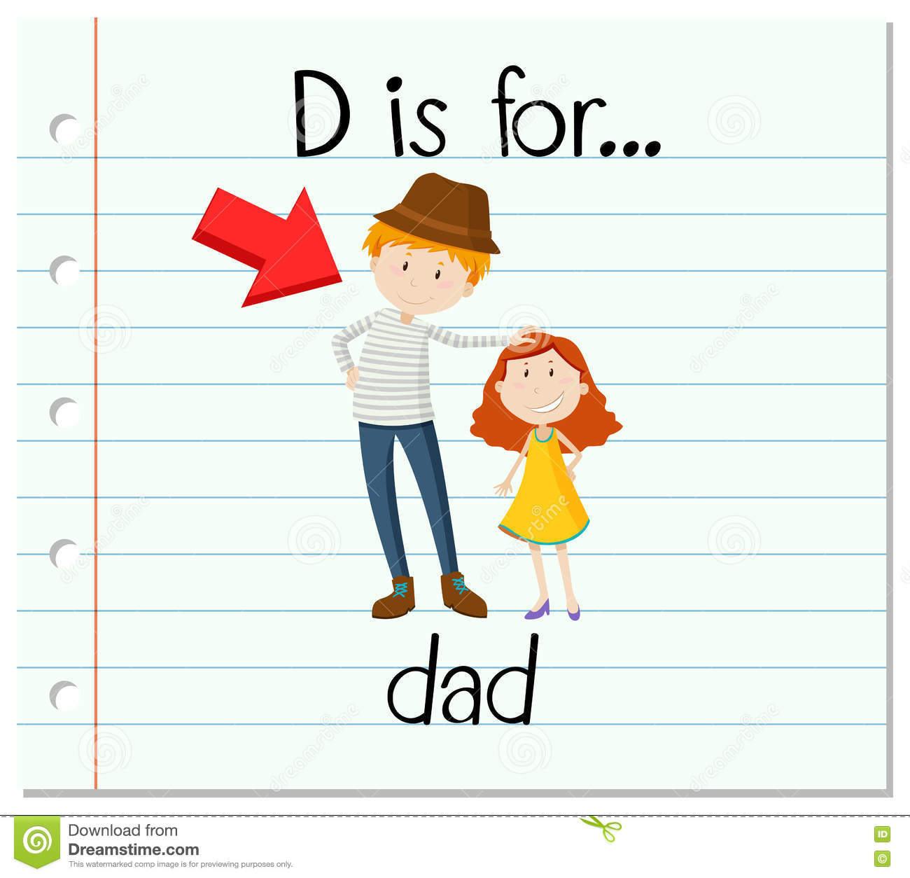 Flashcard Letter D Is For Dad Stock Vector