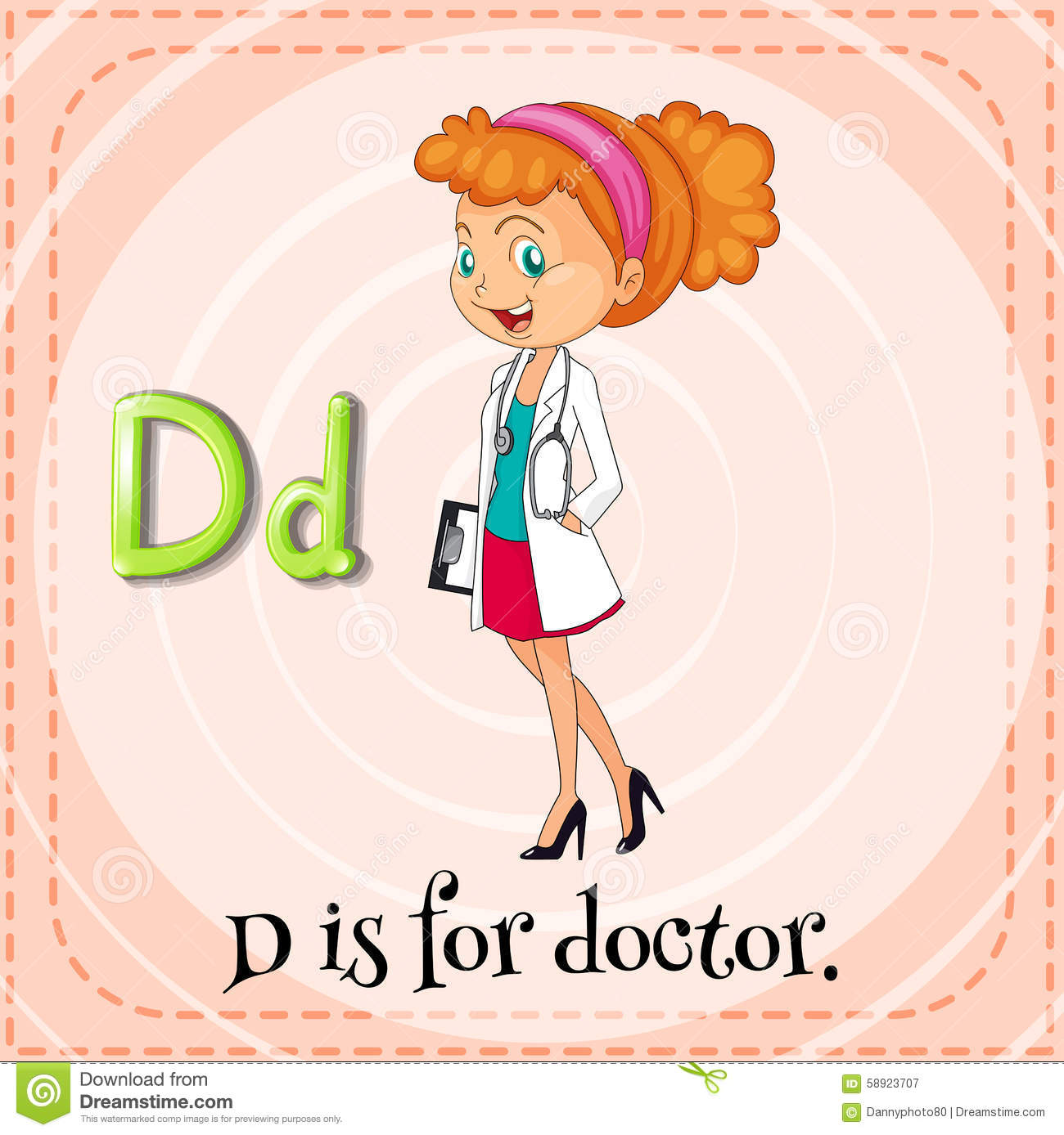 Flashcard Letter D Is For Doctor Stock Vector