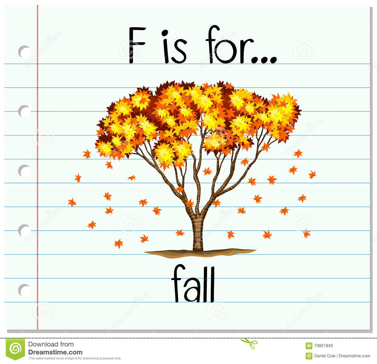 Flashcard Letter F Is For Fall Stock Vector