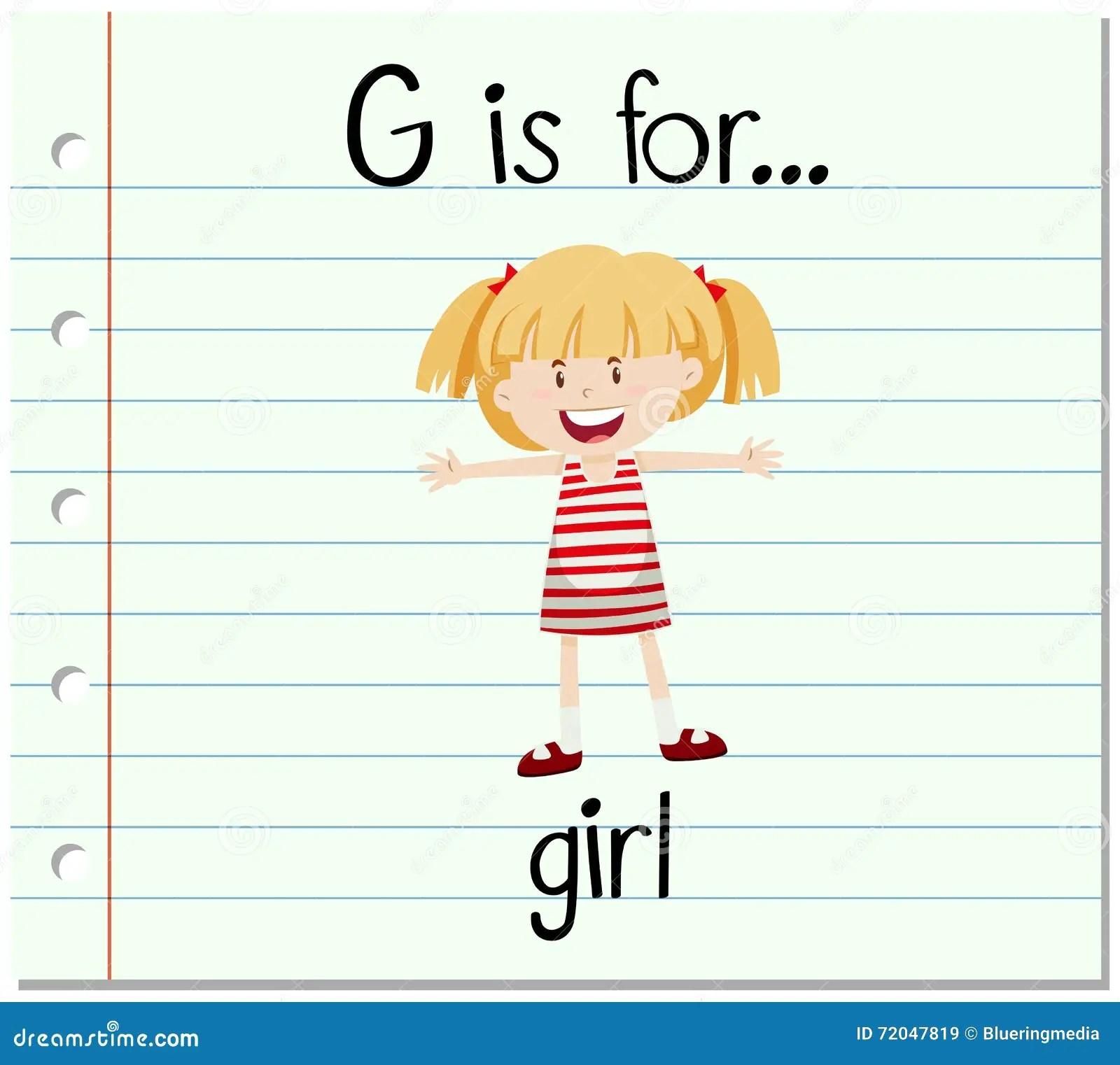 Flashcard Letter G Is For Girl Stock Vector