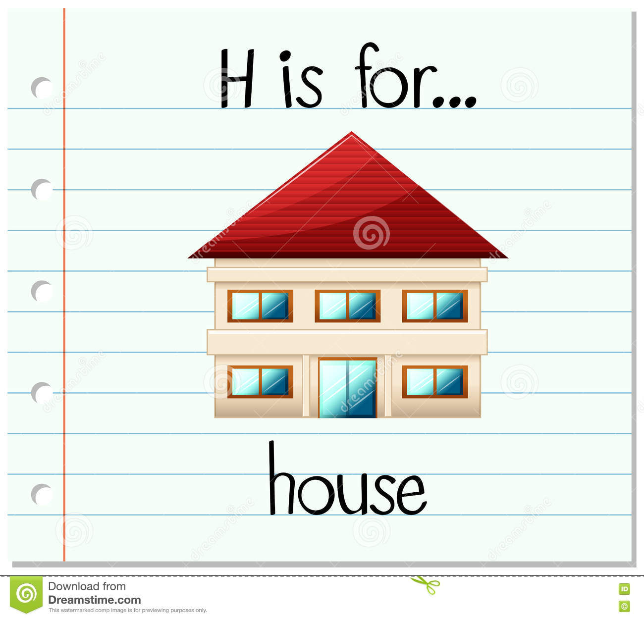 Flashcard Letter H Is For House Stock Illustration