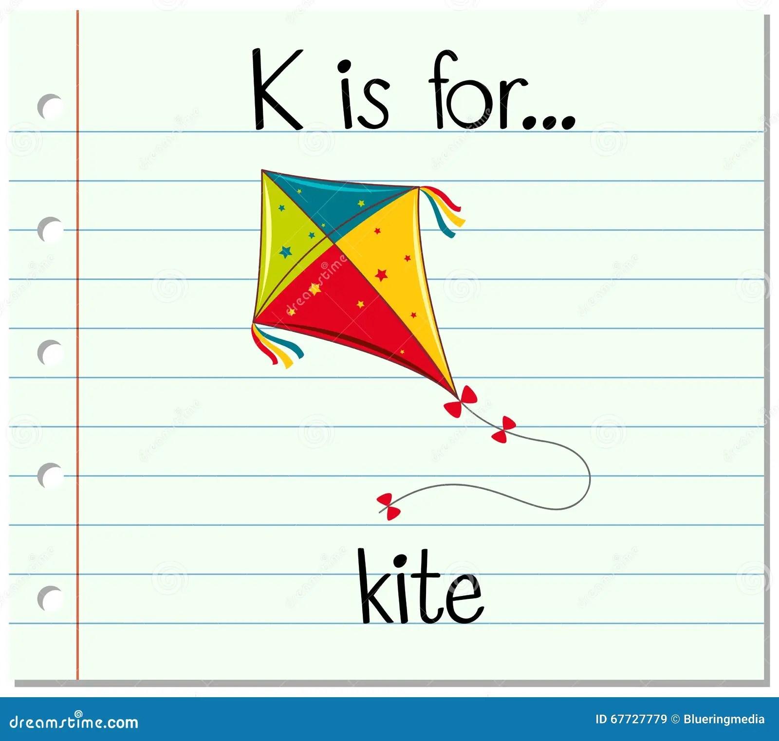 Flashcard Letter K Is For Kite Stock Vector