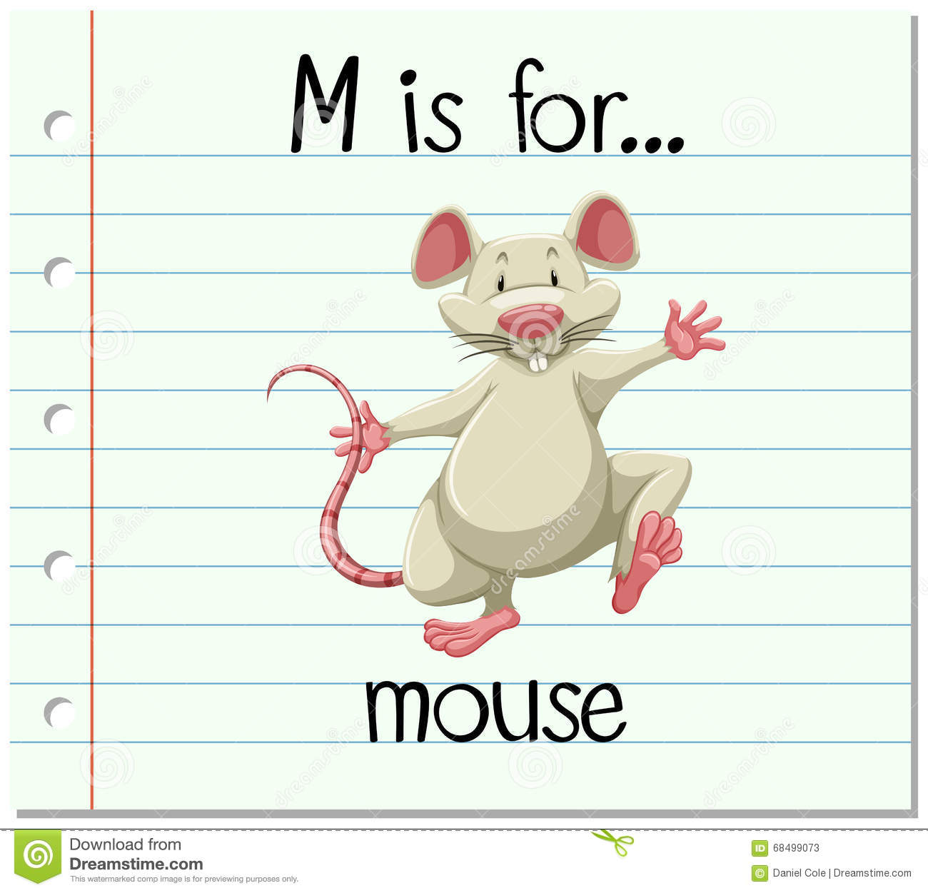 Flashcard Letter M Is For Mouse Stock Vector