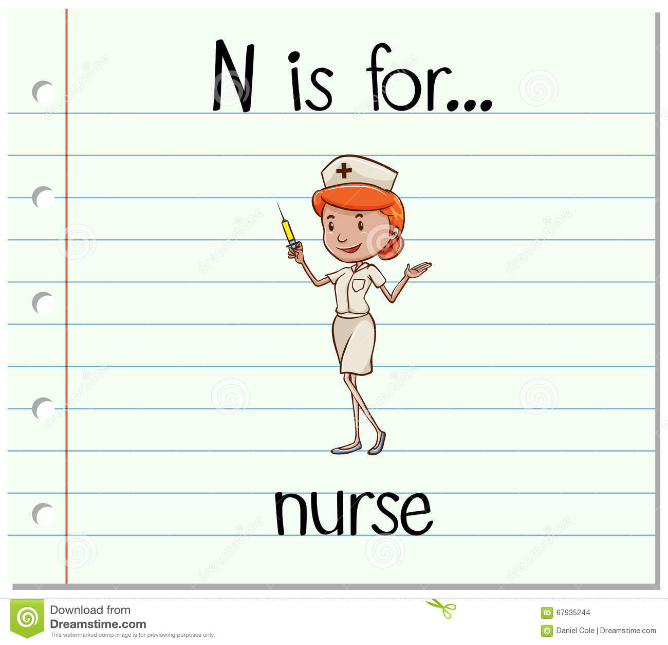 Flashcard Letter N Is For Nurse Stock Vector