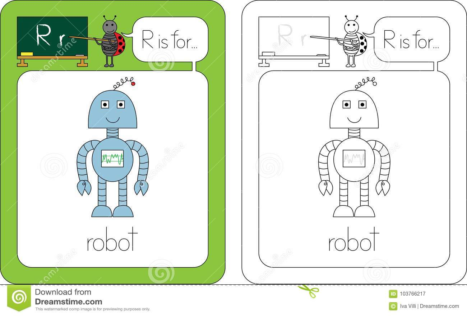 Flashcard Letter R Stock Vector Illustration Of Robot