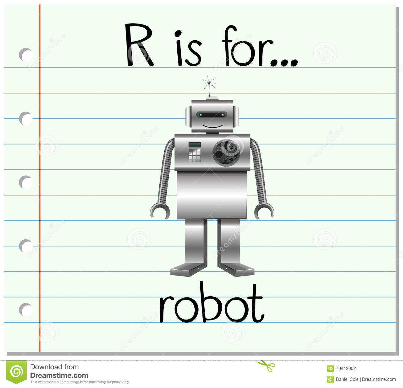 Flashcard Letter R Is For Robot Stock Vector