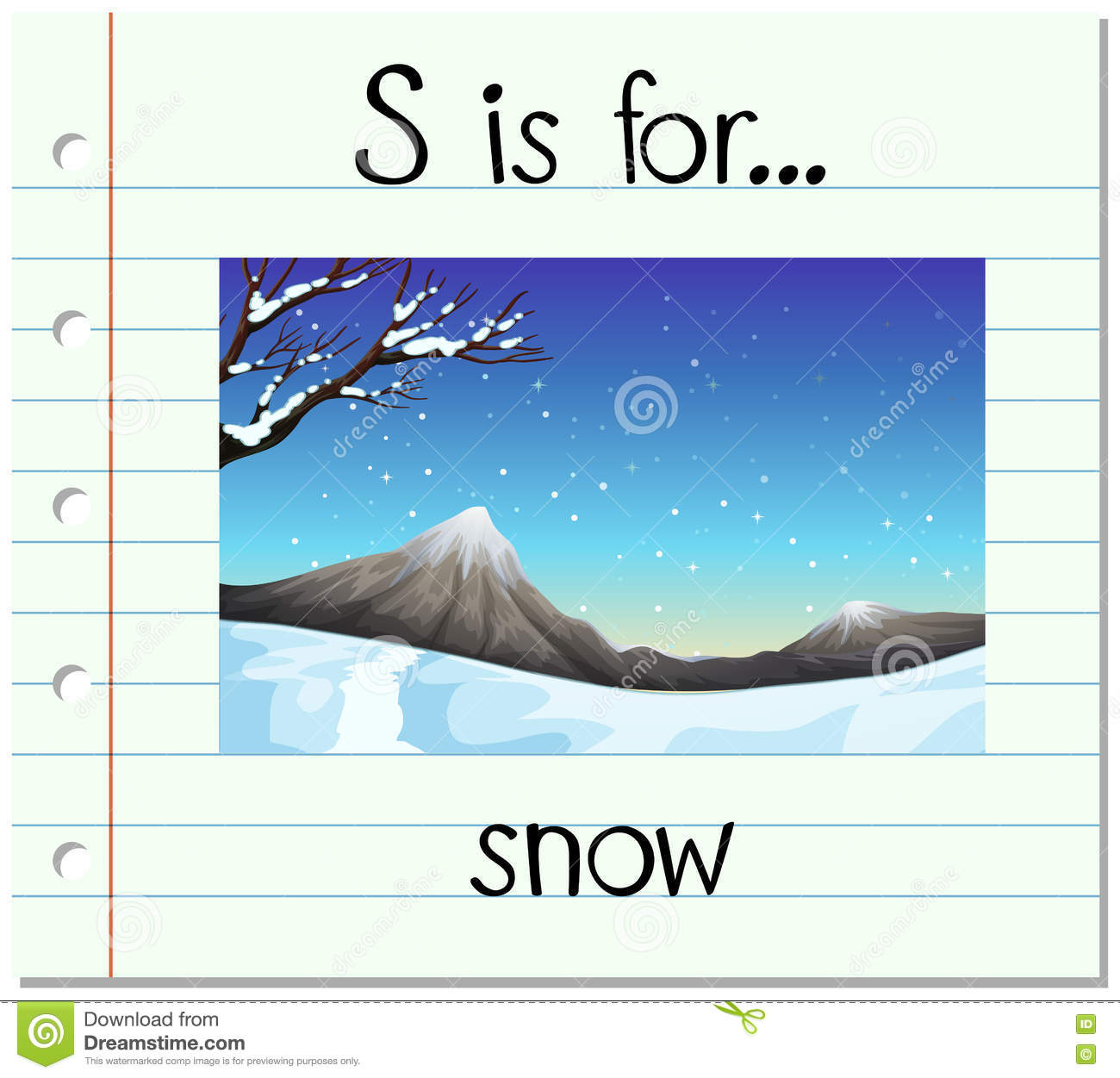 Flashcard Letter S Is For Snow Stock Vector