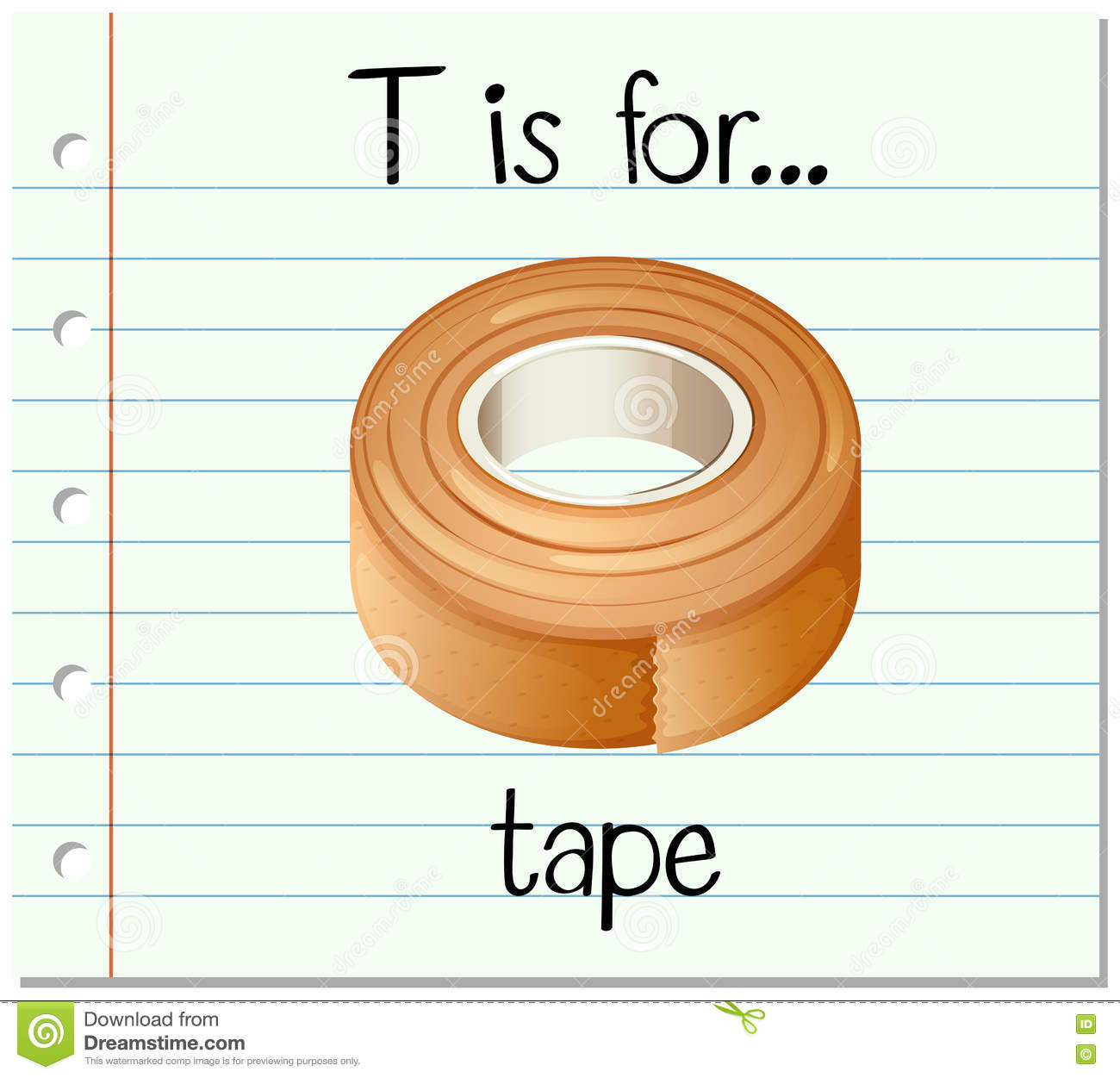 Flashcard Letter T Is For Tape Stock Vector