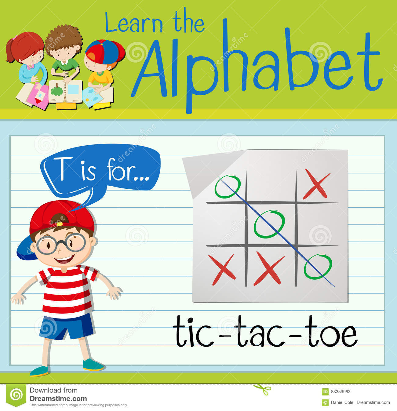 Flashcard Letter T Is For Tic Tac Toe Editorial Stock