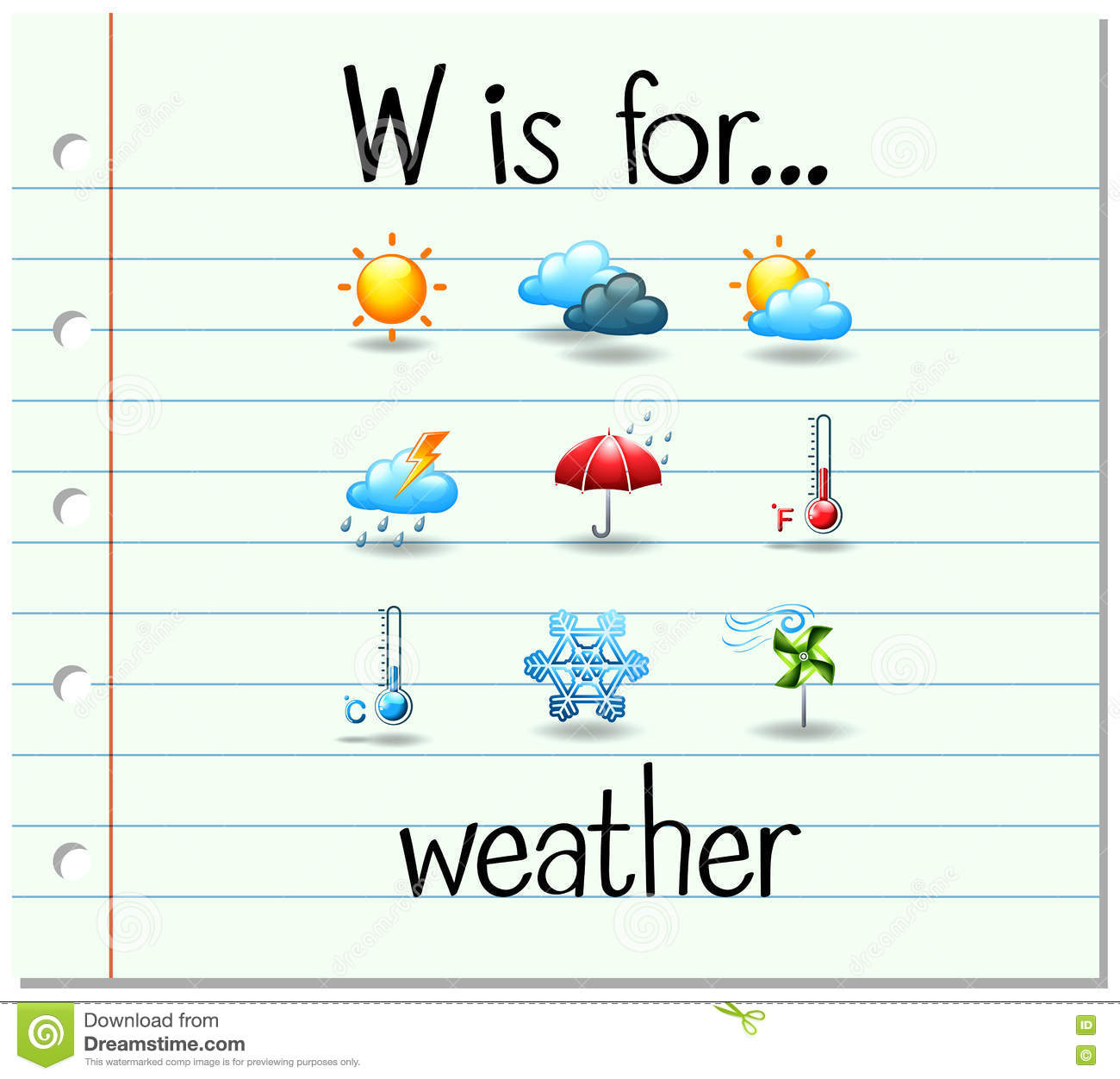 Flashcard Letter W Is For Weather Stock Vector