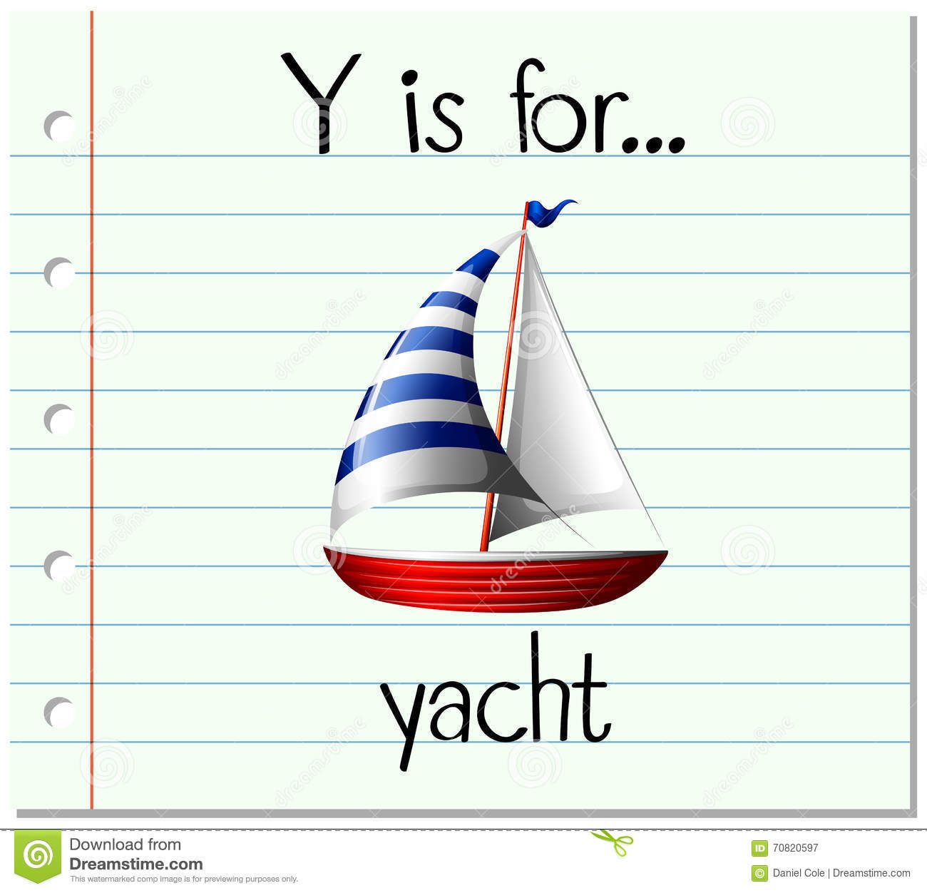 Flashcard Letter Y Is For Yacht Stock Vector