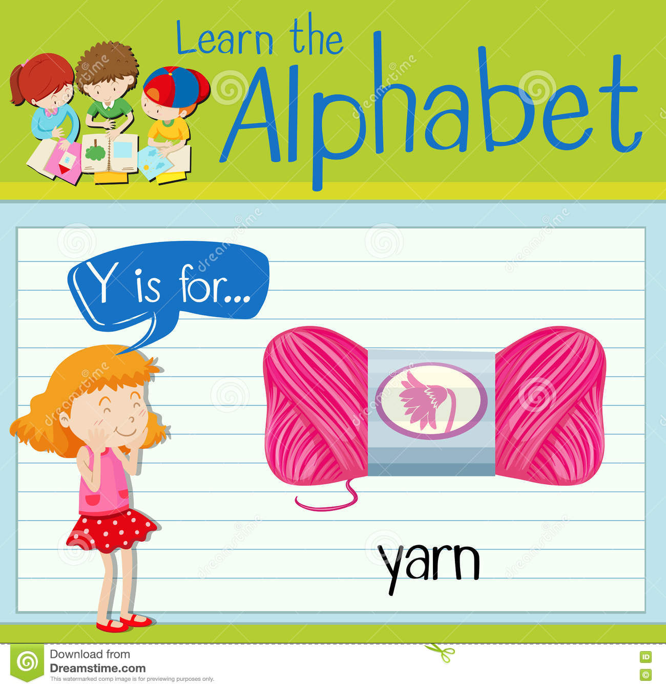 Flashcard Letter Y Is For Yarn Stock Vector