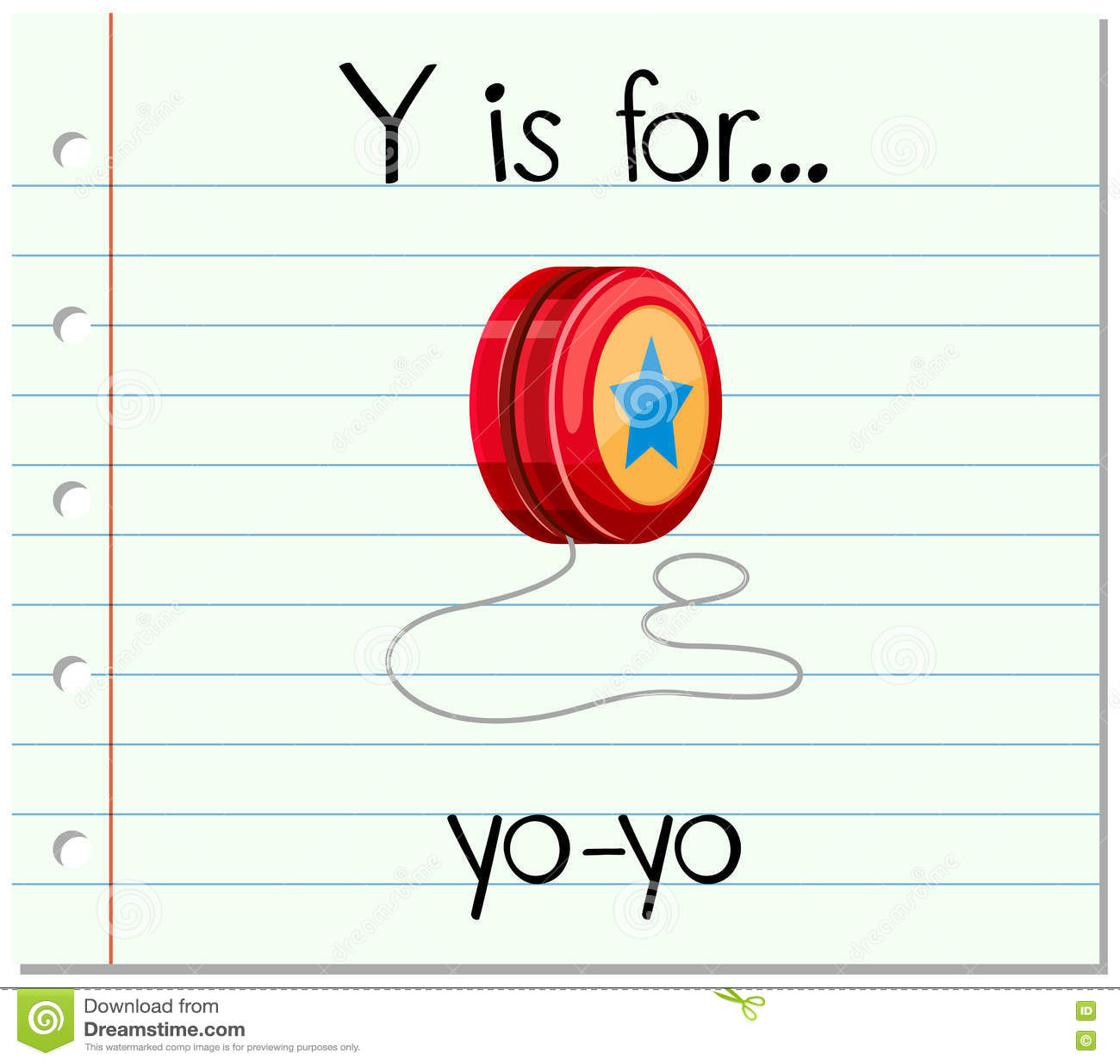 Flashcard Letter Y Is For Yo Yo Stock Vector