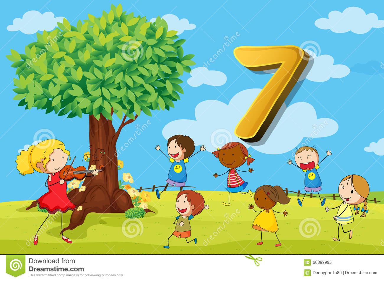 Flashcard Number 7 With Seven Children In The Park Stock