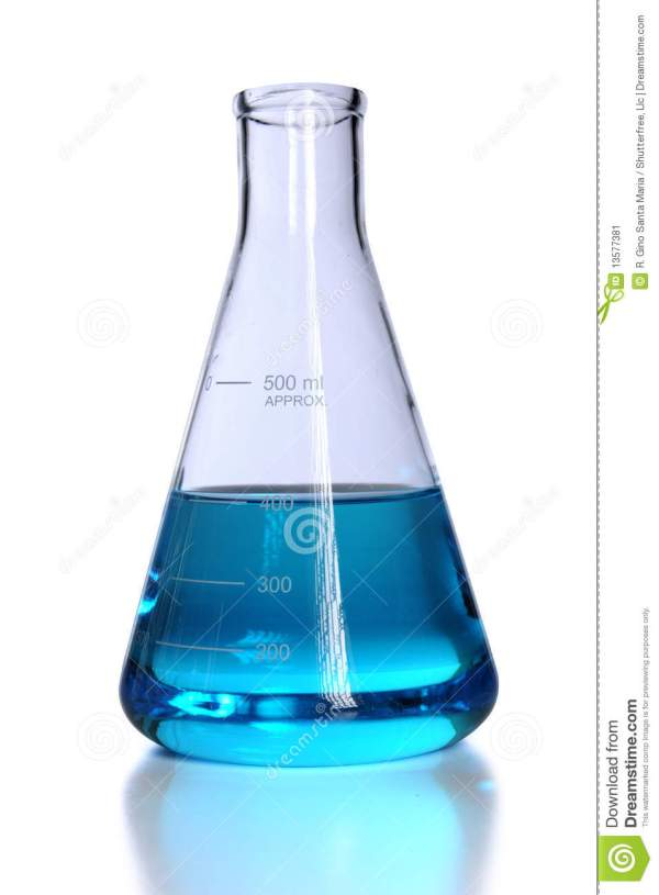 Flask With Blue Liquid Stock Image - Image: 13577381