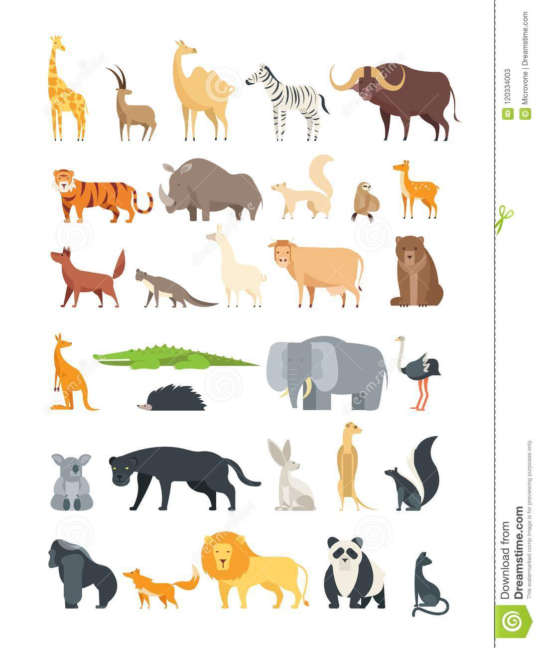 Flat African Jungle And Forest Animals Cute Mammals And