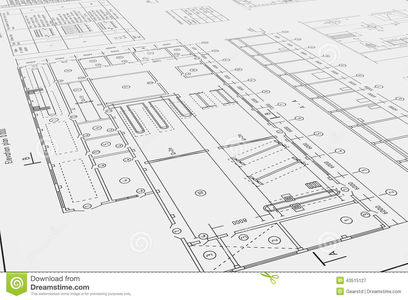 Flat Architectural Drawing And Plan Stock Image