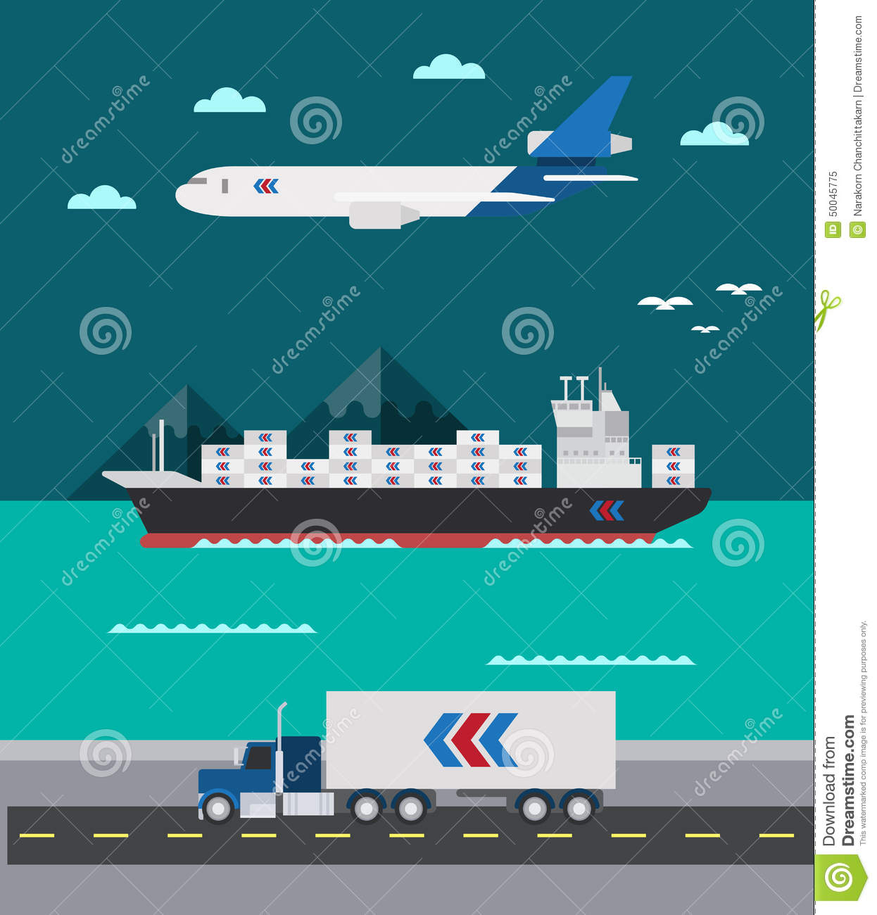 Flat Design Of Cargo Transportation Sea Air Land Stock