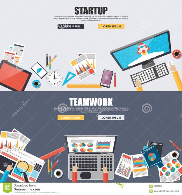 Flat Design Concepts For Teamwork And Startup Stock Vector ...