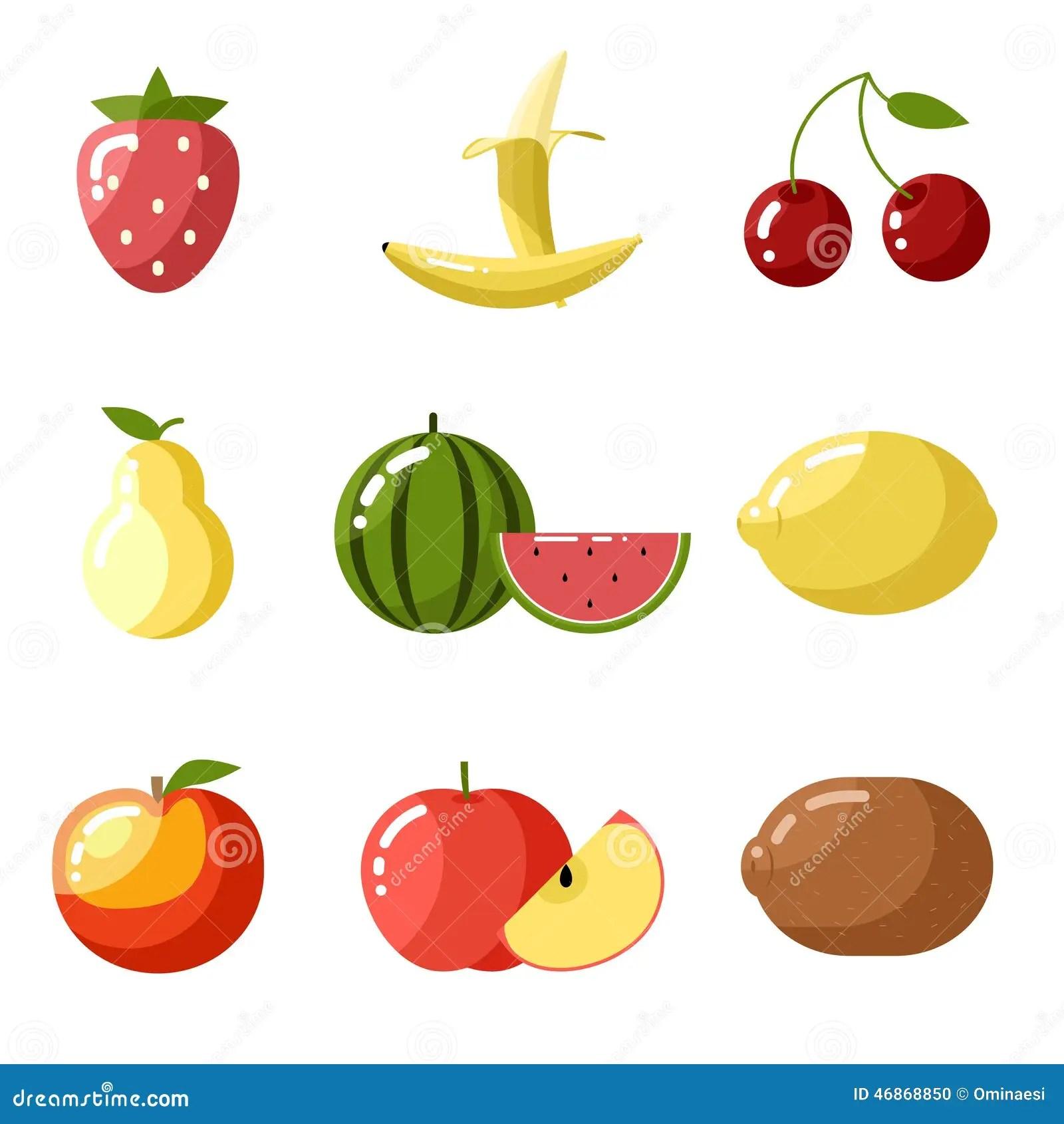 Flat Design Icons Fresh Fruit Apple Cherry Stock Vector